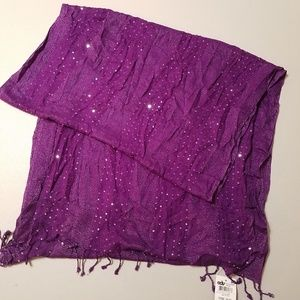 Style & Co Scarf Purple Silver Sequins Rayon